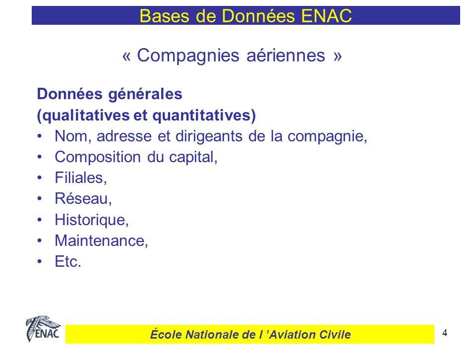 4 « Compagnies aériennes » Données générales (qualitatives et quantitatives) Nom, adresse et dirigeants de la compagnie, Composition du capital, Filia
