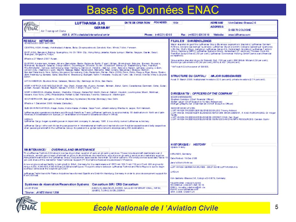 5 Bases de Données ENAC École Nationale de l Aviation Civile