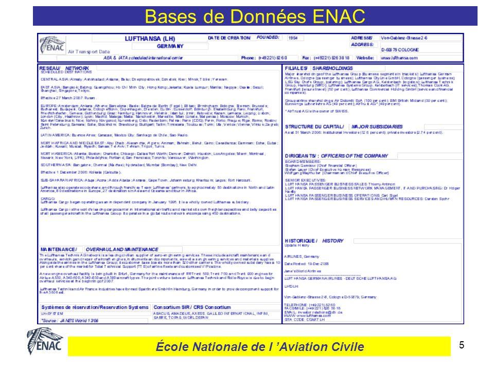 26 Courants de trafic Pays/Pays Bases de Données ENAC École Nationale de l Aviation Civile