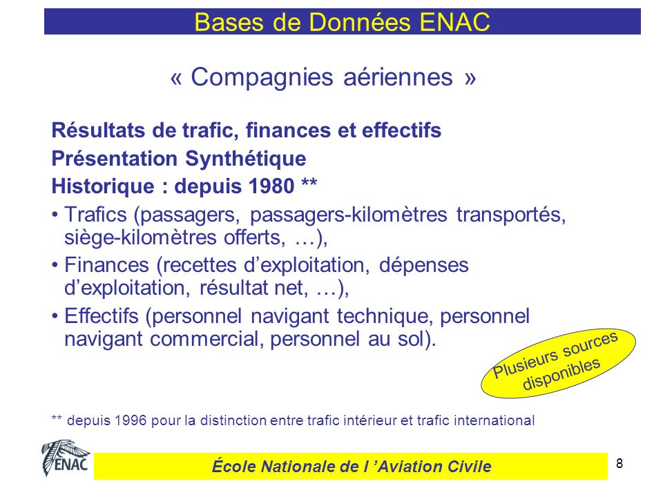 8 « Compagnies aériennes » Résultats de trafic, finances et effectifs Présentation Synthétique Historique : depuis 1980 ** Trafics (passagers, passage