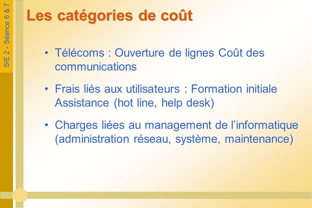 SIE 2 - Séance 6 & 7 Les catégories de coût Télécoms : Ouverture de lignes Coût des communications Frais liés aux utilisateurs : Formation initiale Assistance (hot line, help desk) Charges liées au management de linformatique (administration réseau, système, maintenance)