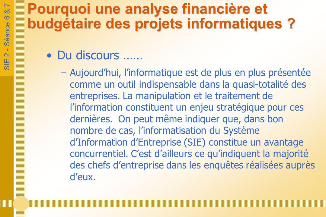SIE 2 - Séance 6 & 7 Pourquoi une analyse financière et budgétaire des projets informatiques ? Du discours …… –Aujourdhui, linformatique est de plus e