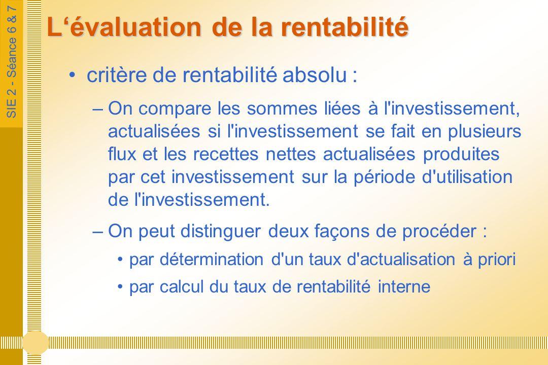 SIE 2 - Séance 6 & 7 Lévaluation de la rentabilité critère de rentabilité absolu : –On compare les sommes liées à l investissement, actualisées si l investissement se fait en plusieurs flux et les recettes nettes actualisées produites par cet investissement sur la période d utilisation de l investissement.