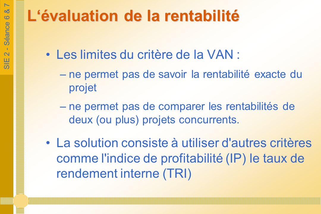 SIE 2 - Séance 6 & 7 Lévaluation de la rentabilité Les limites du critère de la VAN : –ne permet pas de savoir la rentabilité exacte du projet –ne permet pas de comparer les rentabilités de deux (ou plus) projets concurrents.