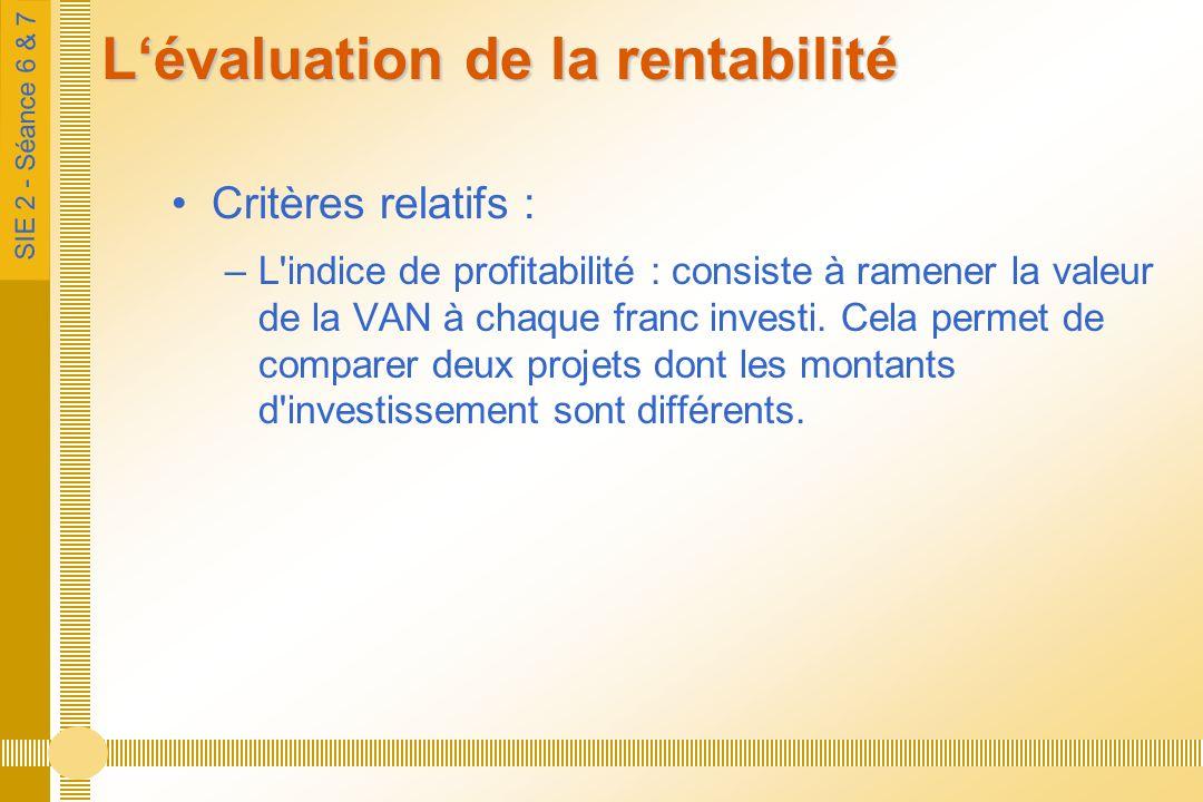 SIE 2 - Séance 6 & 7 Lévaluation de la rentabilité Critères relatifs : –L indice de profitabilité : consiste à ramener la valeur de la VAN à chaque franc investi.