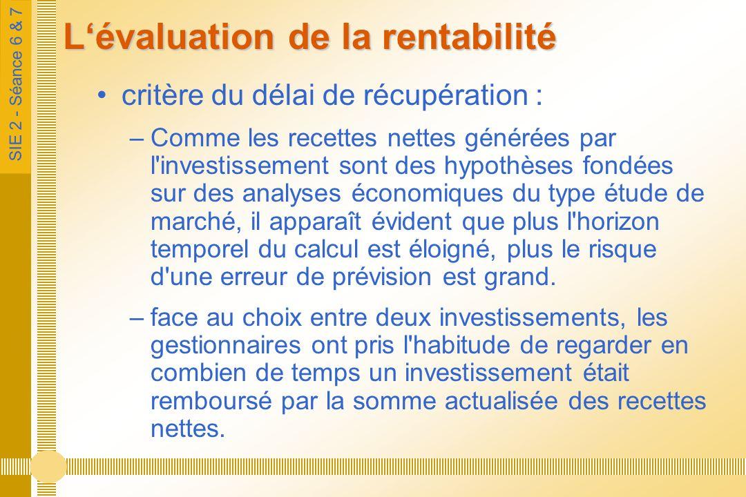 SIE 2 - Séance 6 & 7 Lévaluation de la rentabilité critère du délai de récupération : –Comme les recettes nettes générées par l'investissement sont de