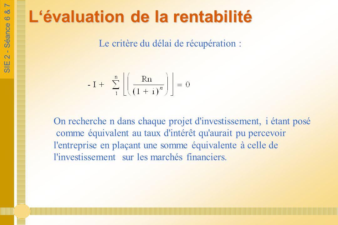 SIE 2 - Séance 6 & 7 Lévaluation de la rentabilité Le critère du délai de récupération : On recherche n dans chaque projet d investissement, i étant posé comme équivalent au taux d intérêt qu aurait pu percevoir l entreprise en plaçant une somme équivalente à celle de l investissement sur les marchés financiers.