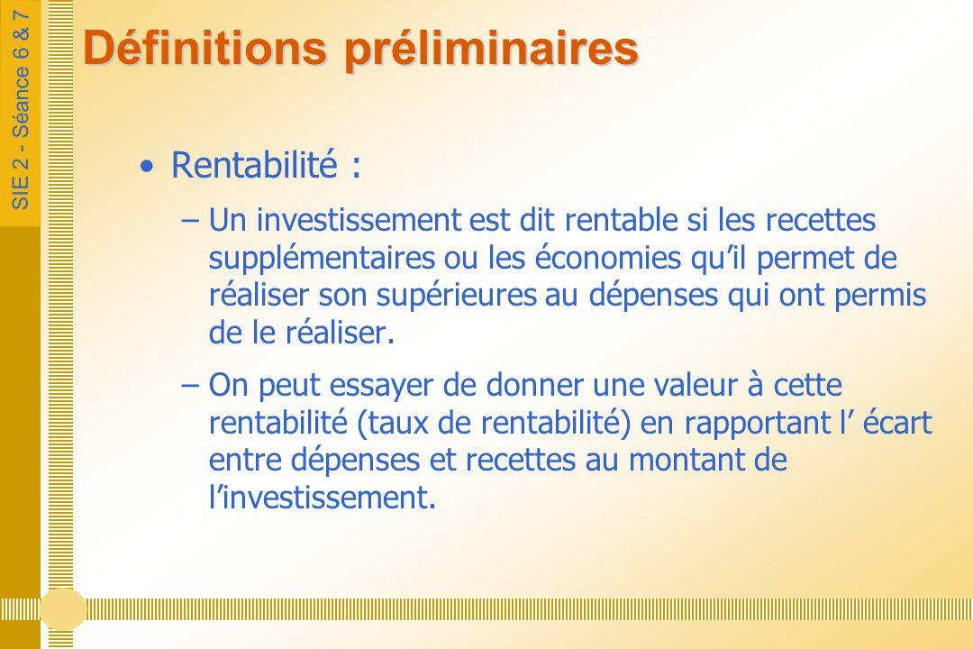 SIE 2 - Séance 6 & 7 Définitions préliminaires Délai de récupération : –Temps nécessaire pour que les dépenses dinvestissement soient équilibrées par les recettes nettes procurées par cet investissement.