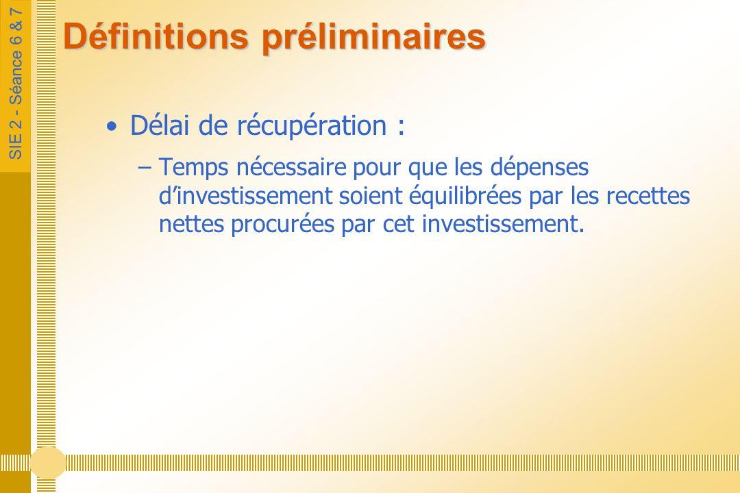 SIE 2 - Séance 6 & 7 Définitions préliminaires Délai de récupération : –Temps nécessaire pour que les dépenses dinvestissement soient équilibrées par