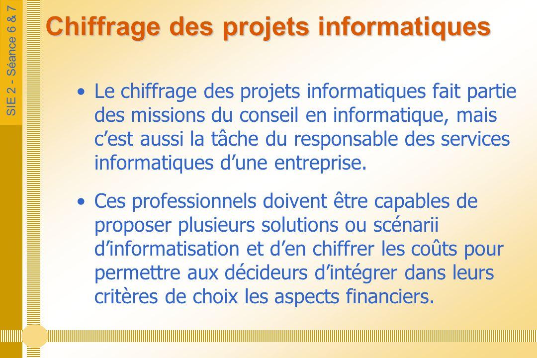 SIE 2 - Séance 6 & 7 Chiffrage des projets informatiques Le chiffrage des projets informatiques fait partie des missions du conseil en informatique, mais cest aussi la tâche du responsable des services informatiques dune entreprise.