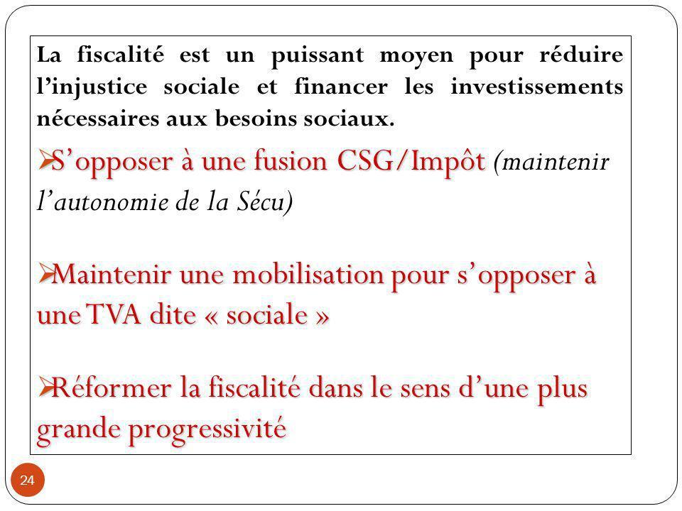24 La fiscalité est un puissant moyen pour réduire linjustice sociale et financer les investissements nécessaires aux besoins sociaux.