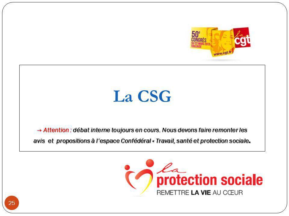 25 La CSG Attention : débat interne toujours en cours.