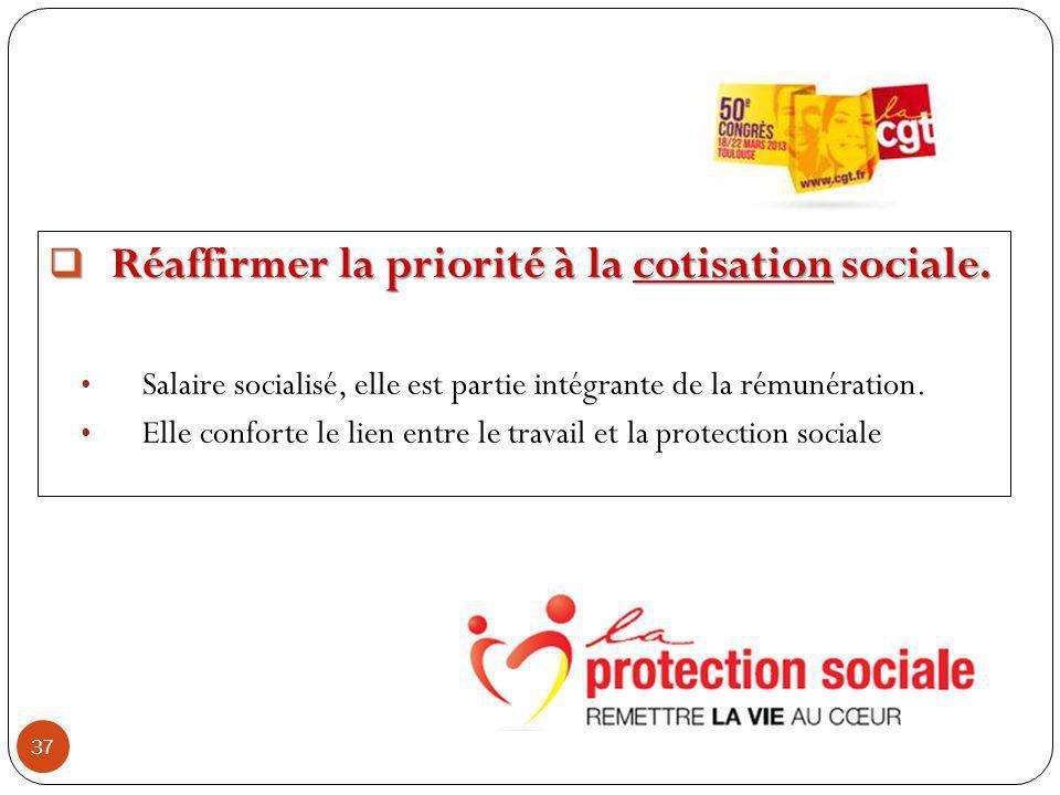 37 Réaffirmer la priorité à la cotisation sociale.