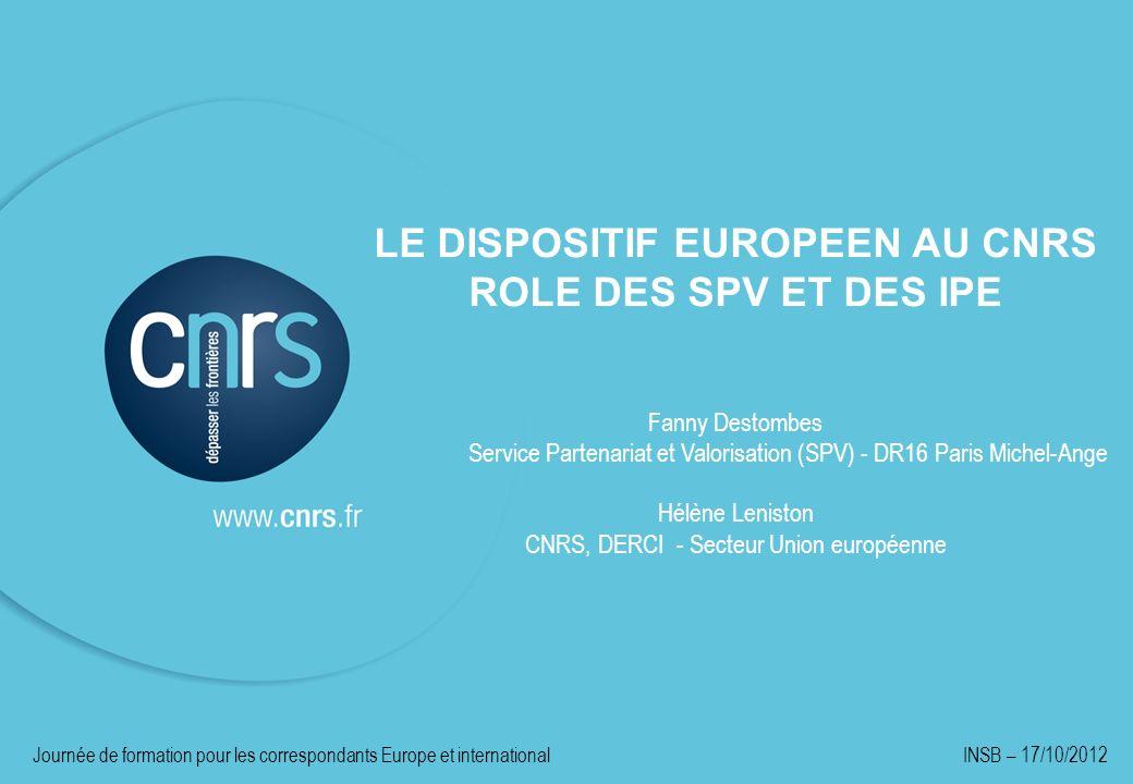LE DISPOSITIF EUROPEEN AU CNRS ROLE DES SPV ET DES IPE Fanny Destombes Service Partenariat et Valorisation (SPV) - DR16 Paris Michel-Ange Hélène Lenis