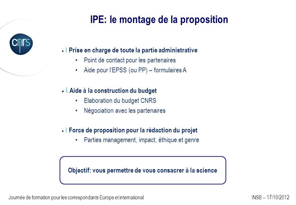IPE: le montage de la proposition I Prise en charge de toute la partie administrative Point de contact pour les partenaires Aide pour lEPSS (ou PP) –