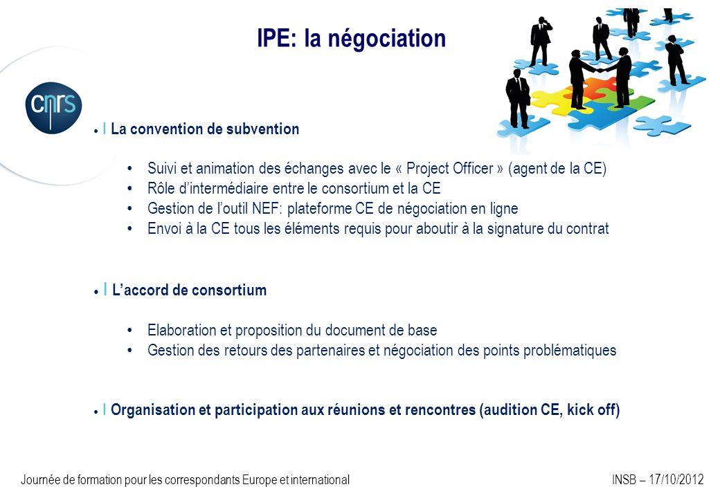 I La convention de subvention Suivi et animation des échanges avec le « Project Officer » (agent de la CE) Rôle dintermédiaire entre le consortium et