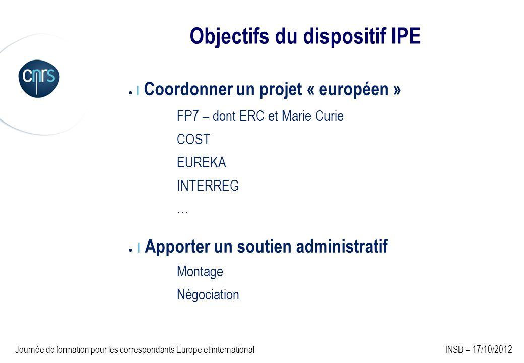 Objectifs du dispositif IPE I Coordonner un projet « européen » FP7 – dont ERC et Marie Curie COST EUREKA INTERREG … I Apporter un soutien administrat