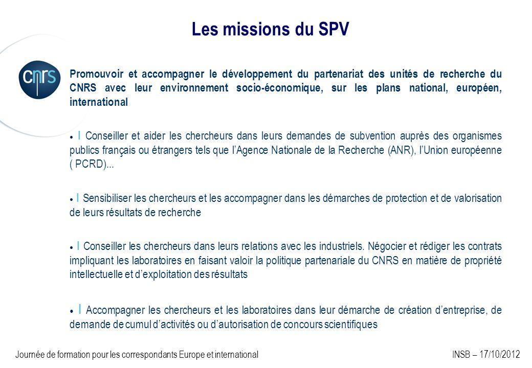 Les missions du SPV Promouvoir et accompagner le développement du partenariat des unités de recherche du CNRS avec leur environnement socio-économique