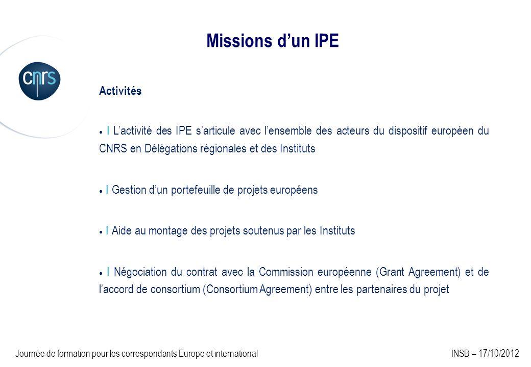 Activités I Lactivité des IPE sarticule avec lensemble des acteurs du dispositif européen du CNRS en Délégations régionales et des Instituts I Gestion