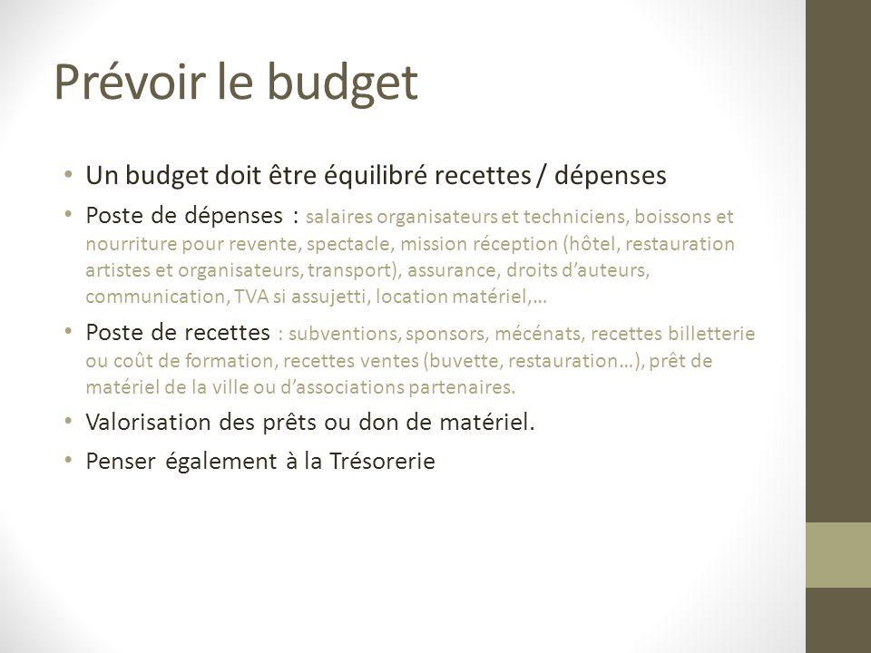 Prévoir le budget Un budget doit être équilibré recettes / dépenses Poste de dépenses : salaires organisateurs et techniciens, boissons et nourriture