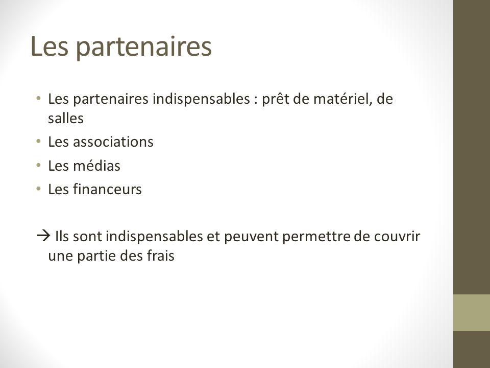 Les partenaires Les partenaires indispensables : prêt de matériel, de salles Les associations Les médias Les financeurs Ils sont indispensables et peu