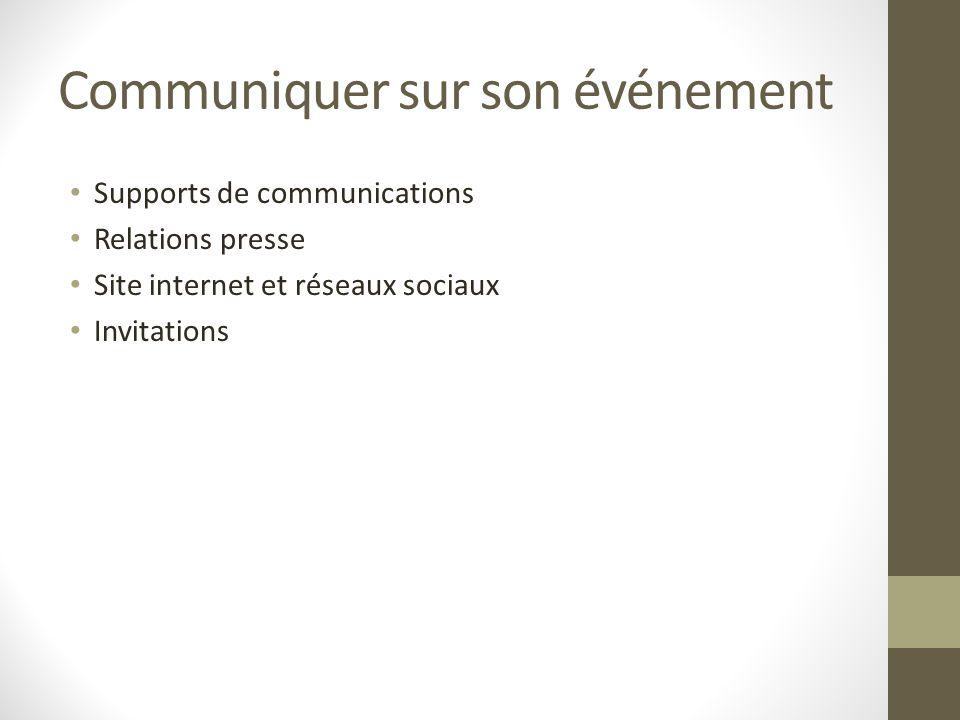 Communiquer sur son événement Supports de communications Relations presse Site internet et réseaux sociaux Invitations