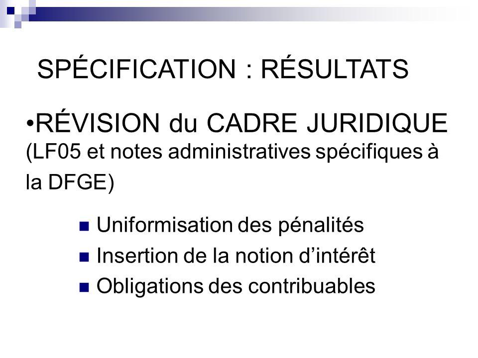 RÉVISION du CADRE JURIDIQUE (LF05 et notes administratives spécifiques à la DFGE) SPÉCIFICATION : RÉSULTATS Uniformisation des pénalités Insertion de la notion dintérêt Obligations des contribuables