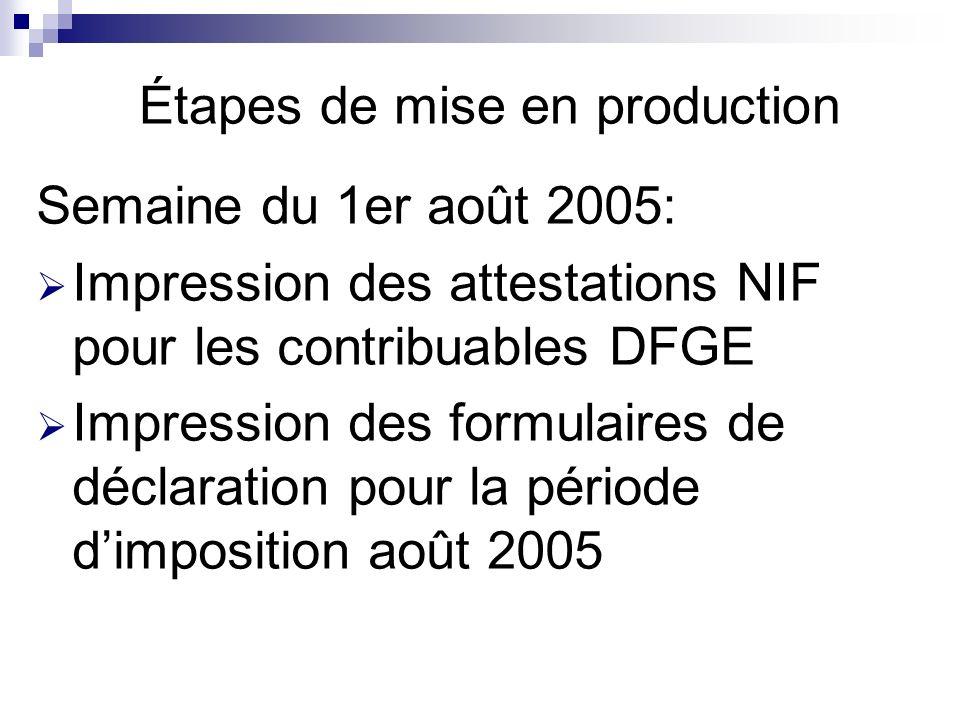 Étapes de mise en production Semaine du 1er août 2005: Impression des attestations NIF pour les contribuables DFGE Impression des formulaires de déclaration pour la période dimposition août 2005