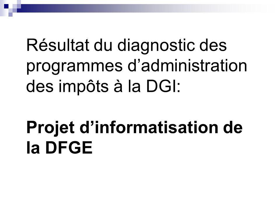 Résultat du diagnostic des programmes dadministration des impôts à la DGI: Projet dinformatisation de la DFGE