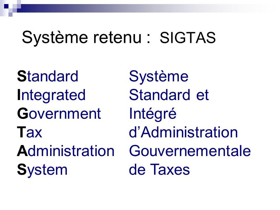 Système retenu : SIGTAS StandardSystème IntegratedStandard et GovernmentIntégré TaxdAdministration AdministrationGouvernementale Systemde Taxes