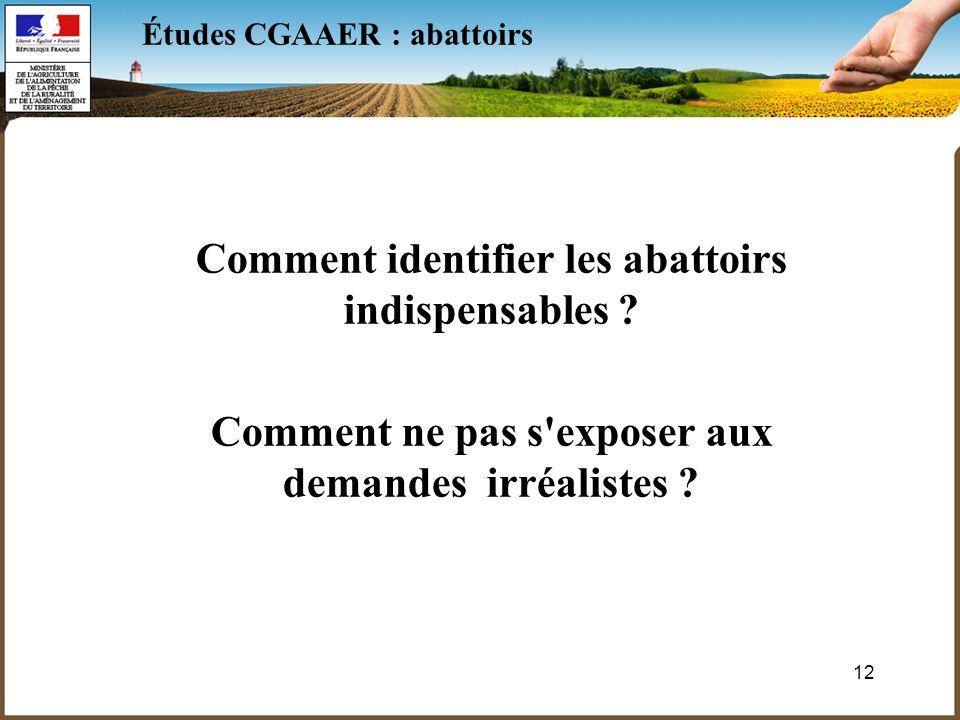 12 Études CGAAER : abattoirs Comment identifier les abattoirs indispensables .