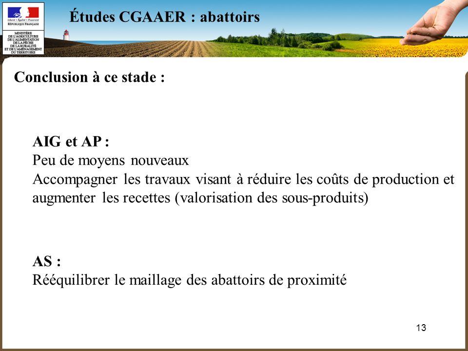 13 Études CGAAER : abattoirs Conclusion à ce stade : AIG et AP : Peu de moyens nouveaux Accompagner les travaux visant à réduire les coûts de production et augmenter les recettes (valorisation des sous-produits) AS : Rééquilibrer le maillage des abattoirs de proximité