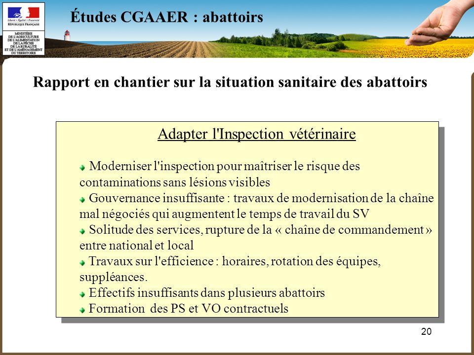20 Études CGAAER : abattoirs Rapport en chantier sur la situation sanitaire des abattoirs Adapter l'Inspection vétérinaire Moderniser l'inspection pou