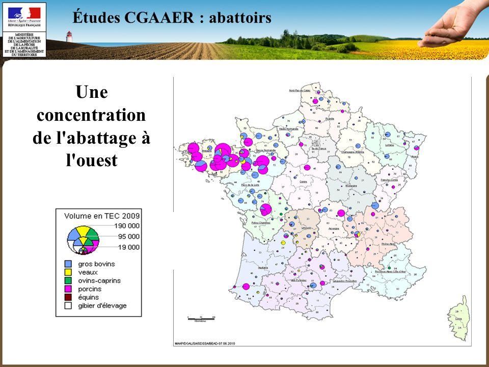 4 Études CGAAER : abattoirs Une concentration de l'abattage à l'ouest