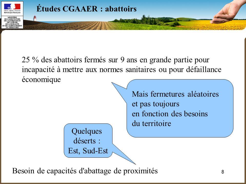 9 Études CGAAER : abattoirs Il faut préserver des abattoirs de proximité après une définition claire du besoin.