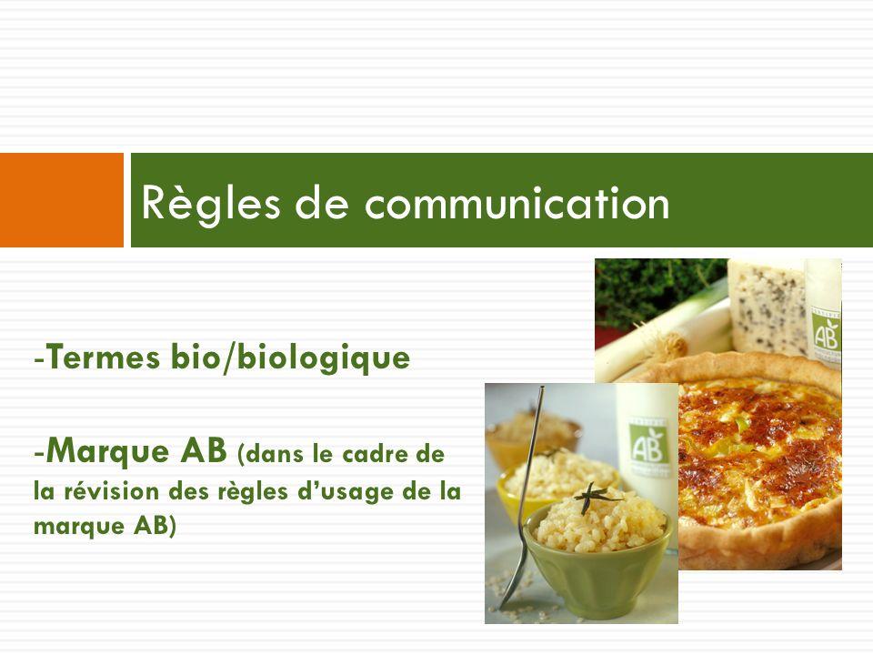 Règles de communication -Termes bio/biologique -Marque AB (dans le cadre de la révision des règles dusage de la marque AB)