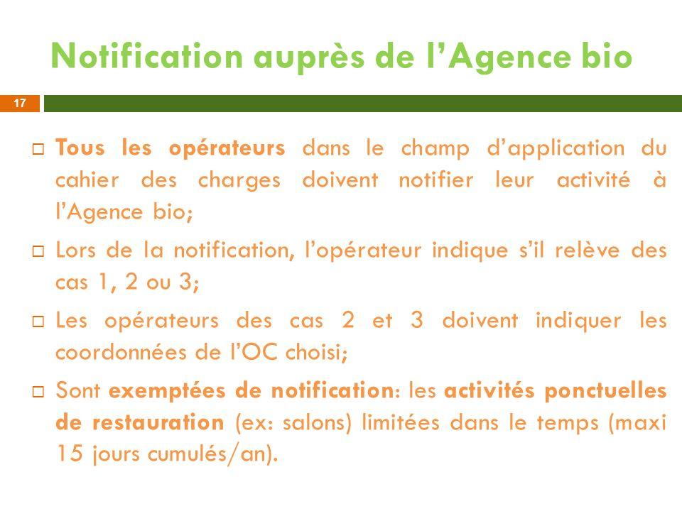 Notification auprès de lAgence bio Tous les opérateurs dans le champ dapplication du cahier des charges doivent notifier leur activité à lAgence bio;