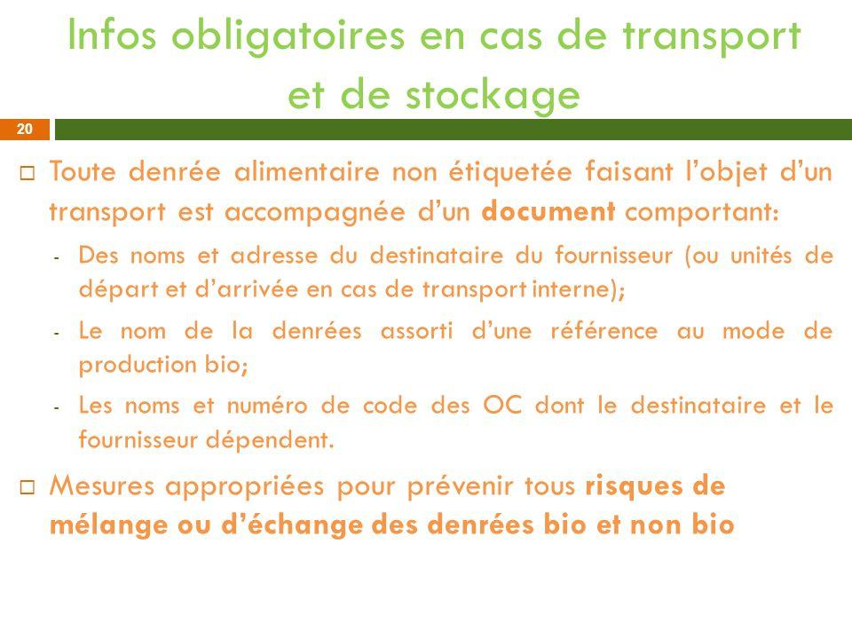 Infos obligatoires en cas de transport et de stockage Toute denrée alimentaire non étiquetée faisant lobjet dun transport est accompagnée dun document