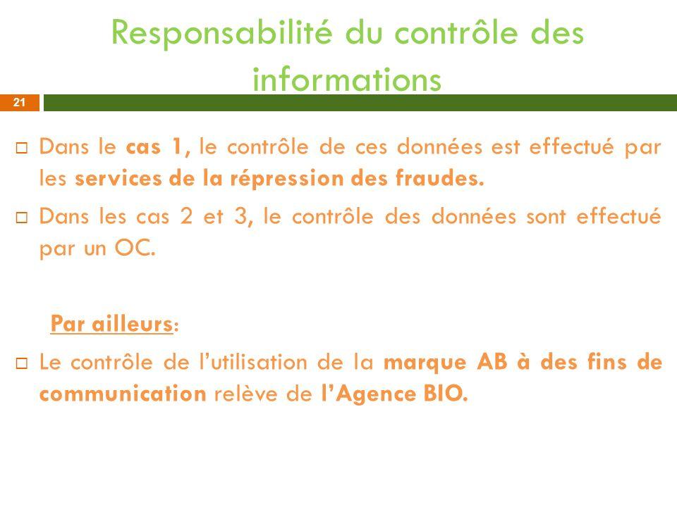Responsabilité du contrôle des informations Dans le cas 1, le contrôle de ces données est effectué par les services de la répression des fraudes. Dans