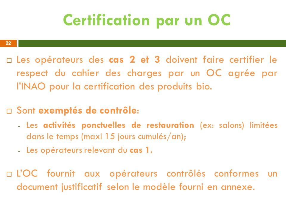 Certification par un OC Les opérateurs des cas 2 et 3 doivent faire certifier le respect du cahier des charges par un OC agrée par lINAO pour la certi