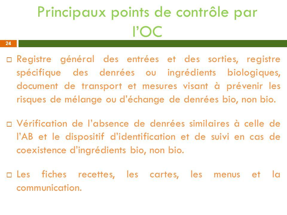 Principaux points de contrôle par lOC Registre général des entrées et des sorties, registre spécifique des denrées ou ingrédients biologiques, documen