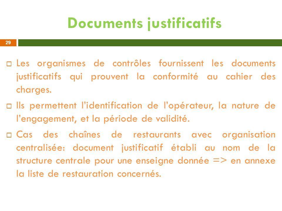 Documents justificatifs Les organismes de contrôles fournissent les documents justificatifs qui prouvent la conformité au cahier des charges. Ils perm