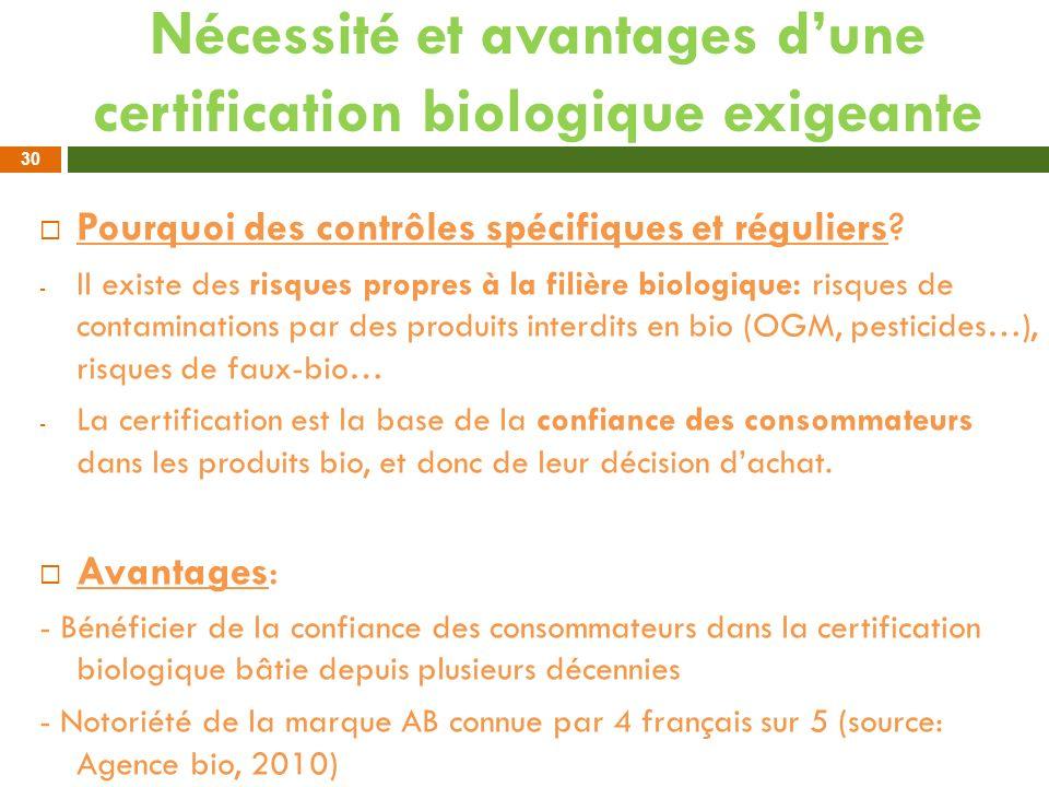 Nécessité et avantages dune certification biologique exigeante Pourquoi des contrôles spécifiques et réguliers? - Il existe des risques propres à la f