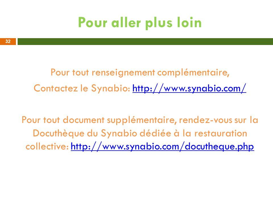 Pour aller plus loin Pour tout renseignement complémentaire, Contactez le Synabio: http://www.synabio.com/http://www.synabio.com/ Pour tout document s