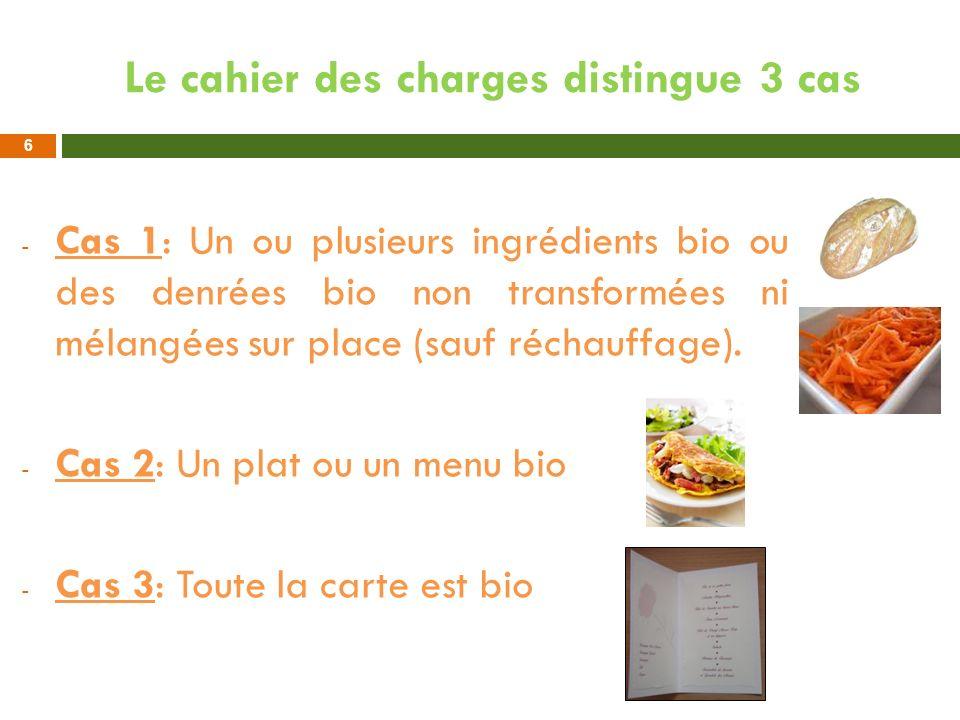 Le cahier des charges distingue 3 cas - Cas 1: Un ou plusieurs ingrédients bio ou des denrées bio non transformées ni mélangées sur place (sauf réchau