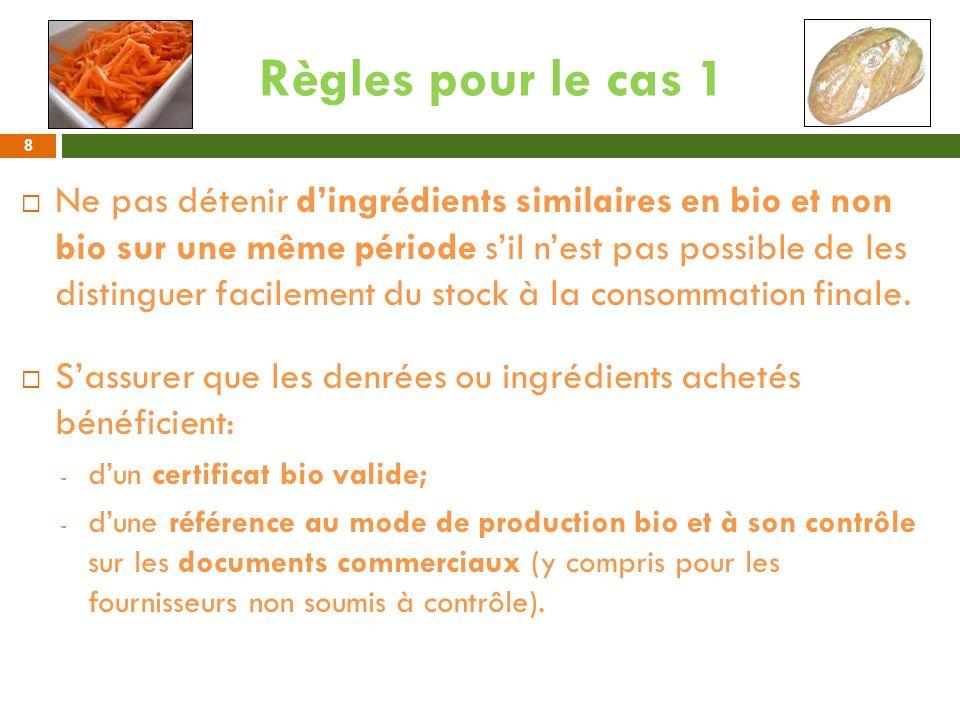 Règles pour le cas 1 Ne pas détenir dingrédients similaires en bio et non bio sur une même période sil nest pas possible de les distinguer facilement
