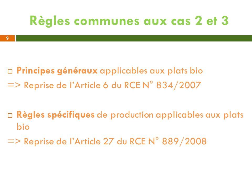 Règles communes aux cas 2 et 3 Principes généraux applicables aux plats bio => Reprise de lArticle 6 du RCE N° 834/2007 Règles spécifiques de producti