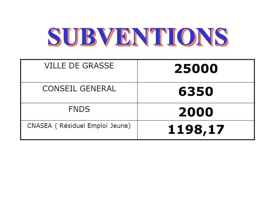 SUBVENTIONSSUBVENTIONS VILLE DE GRASSE 25000 CONSEIL GENERAL 6350 FNDS 2000 CNASEA ( Résiduel Emploi Jeune) 1198,17