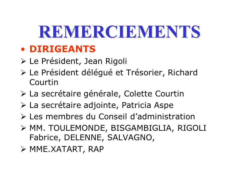 REMERCIEMENTS DIRIGEANTS Le Président, Jean Rigoli Le Président délégué et Trésorier, Richard Courtin La secrétaire générale, Colette Courtin La secré