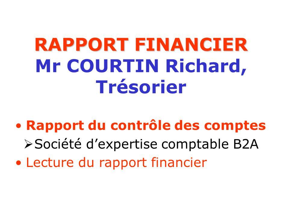 RAPPORT FINANCIER RAPPORT FINANCIER Mr COURTIN Richard, Trésorier Rapport du contrôle des comptes Société dexpertise comptable B2A Lecture du rapport
